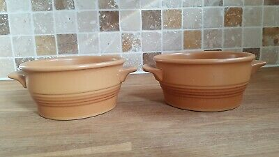 2 Vintage Purbeck Toast Stoneware Pottery Handled Soup Bowls Dishes Gc  • 10£