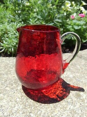 Vintage Ruby Red Hand-Blown Crackle Glass Miniature Pitcher • 12.95£
