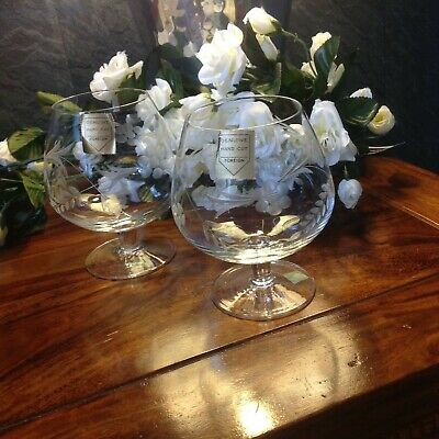 Vintage Glasses X2, Beautiful Hand Cut Glass/crystal, Brandy Whisky Gin,  • 12£