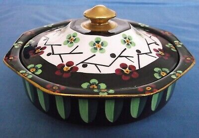 Antique Art Nouveau Deco Maddock England Lidded Floral Bowl Signed 1917 Rare • 35£