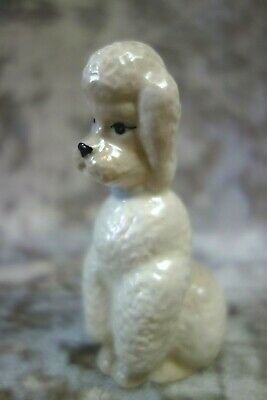 Vintage Szeiler Pottery White Poodle Figure With Blue Collar • 20£
