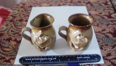 PAIR Of Vintage Pretty Ugly Pottery Mugs - Made In Wales Studio Ceramic  • 10£