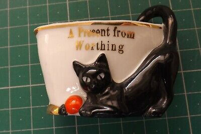 Foreign Crested China Lucky Black Cat Vase A Present From Worthing 5cms High • 49.99£