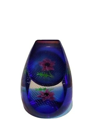 Glass Paperweight With Floral Insert • 8£