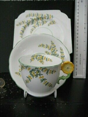 Rare Vintage Aynsley England Flower Handle Trio Cup And Saucer Plate • 119.99£