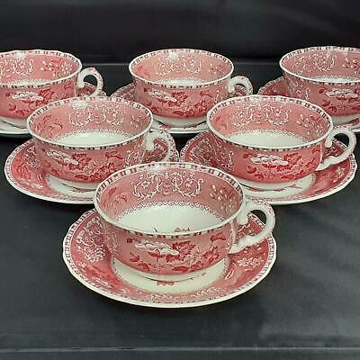 6 X SPODE'S 'Pink CAMILLA' BREAKFAST CUPS & SAUCERS • 66£