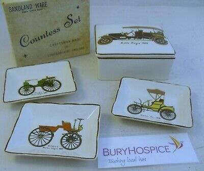 Sandland Ware Counted Set Vintage Cars Trinket Box & Small Trays (WH_11177) • 10£