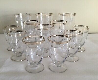A Set Of 12 Vintage Glasses, Gold Lined And Patterned With White Birds. • 6£