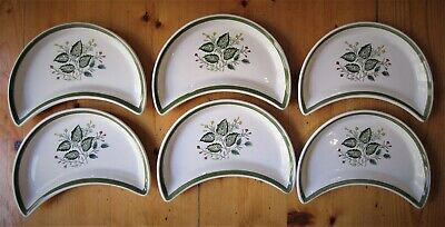 6 Maddock  Royal Vitreous Merryleaves Half Moon Shaped Plates FREE UK POSTAGE • 11£