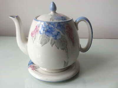 Stunning Rare Shelley Blue Phlox Vintage Teapot & Stand -  1925-1945 Backstamp  • 79.99£