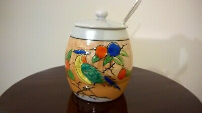 Vintage Hand Painted Bird On Sugar Bowl With Lid & Spoon Stamped E.P.N.S.Made In • 9.99£