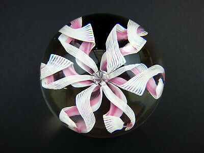 Murano White And Pink Latticino Flower Paperweight Italy Fratelli Toso • 34.99£