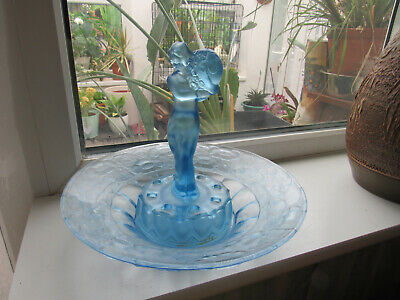 Art Deco Glass Blue Bowl Centrepiece With Lady Frog C1930's • 50£