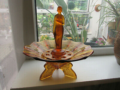 Art Deco Glass Amber Muller Pandora Centrepiece  Lady Frog & Bowl • 35£