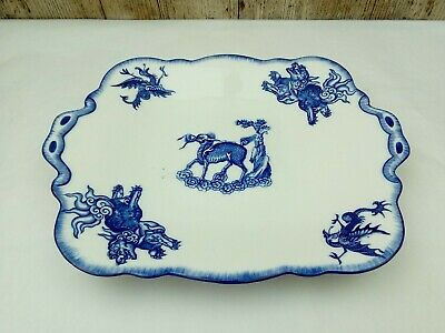 Antique 'Fords' China Blue & White Mystical Animal Serving Plate Dragon Pheonix • 15£