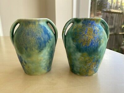 PAIR OF VINTAGE EMPIRE WARE  – TWIN HANDLED VASES– C.1930 • 15£