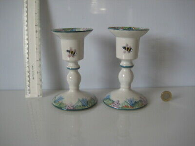 The Tain Pottery Scotland Spongeware Fearn Pair Candlesticks Bumblebees  • 39.99£