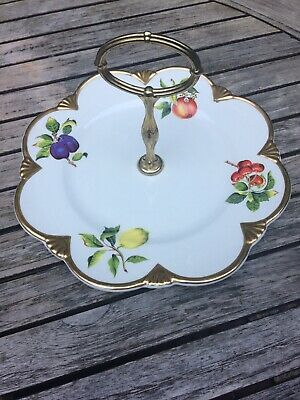 VINTAGE ROYAL WINTON GRIMWADES Cake Plate With Handle Fruit Gold • 19.50£