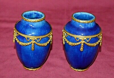 Antique Sevres Miniature Urns With Gilt Ormolu Mounts Paul Jean Millet • 225£