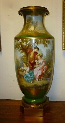 Large Antique Signed Ormolu Mounted Porcelain Vase Possibly Sevres 51cm High • 950£