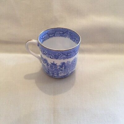 Blue 'willow Pattern' Small Coffee Cup/mug Understamped 'Geo. Fleet & Co' • 4.99£