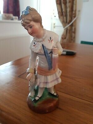 Staffordshire Porcelain Statue Of Girl With Dog • 1.30£