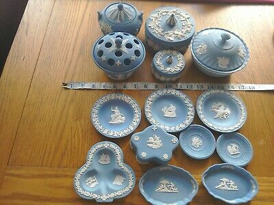 Wedgwood Blue Jasperware Job Lot Collection  - 14 Pieces Good Condition • 7.50£