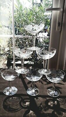 6 Vintage Etched Champagne Prosecco Saucers Coupes  Stemware Floral Vgc  • 30£