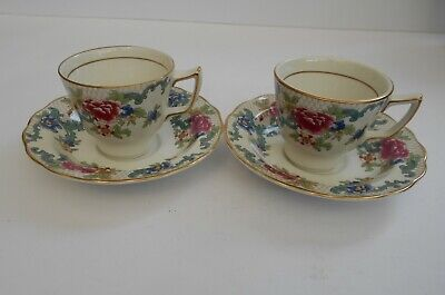 Vintage Booths Floradora A8042.Demi-Tasse Coffee Cups And Saucers X 2. • 11.99£