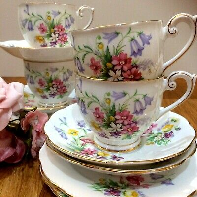 Queen Anne Old Country Spray Teacups/Cups, Saucers & Plates (4 Floral Trios) • 27.95£