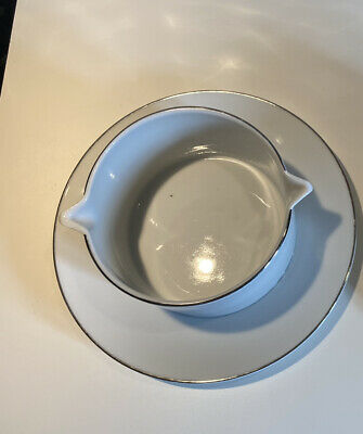 Thomas Germany Gravy / Sauce Boat Integral Stand Saucer Silver Platinum • 11£