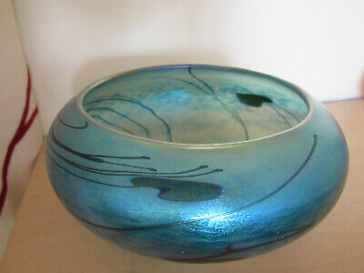 John Ditchfield Art Glass Bowl Blue Iridescent . Signed & Numbered..FREE UK POST • 125£