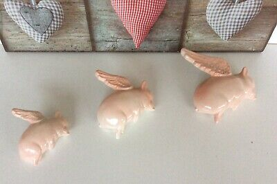 Lovely Set Of Three Flying Pig Wall Plaques Ex Con New Other • 29.95£