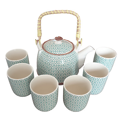 Chinese Herbal Tea Set - Green Mosaic Pattern - 6 Cups And Infuser - Boxed • 23.85£