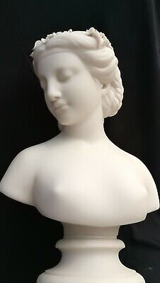 Antique 19thc Large Parian Bust Of A Classical Maiden / Lady • 110£