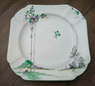Vintage 1930s  Art Deco Shelley Square Plate White Pink Blue Balloon Tree VGC • 14.99£