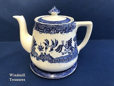 Vintage Blue & White Willow Pattern Teapot And Stand - Good Condition • 14.99£