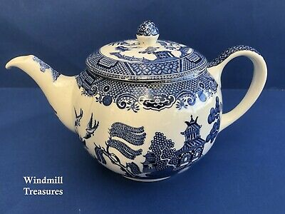 Vintage Johnson Brothers Blue & White Willow Pattern Teapot - Display Only • 11.99£