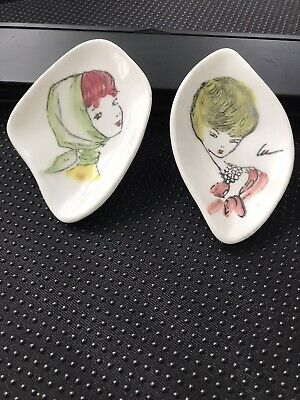 Rare Hand Painted Pair Of  1950s Porcelain Small Dishes By Lucy Williams • 15£