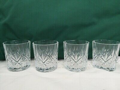 4 X Vintage 12 Sided Cut Glass Crystal Whisky Whiskey Tumblers 8cm • 20£
