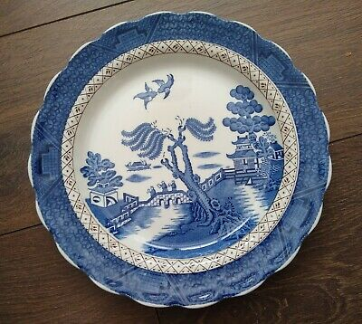 Vintage 1912+ Booths 25cm Dinner Plate Scallopped Rim Real Old Willow A8025 VGC • 11.99£