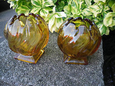 A Pair Of Amber Art Deco Glass Rose Bowls • 14.99£