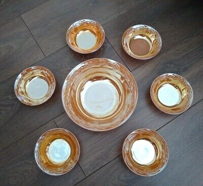 Vintage Anchor Hocking Fire-King Oven Ware 7pce Bowls Set Peach Lustre VGC • 49.99£