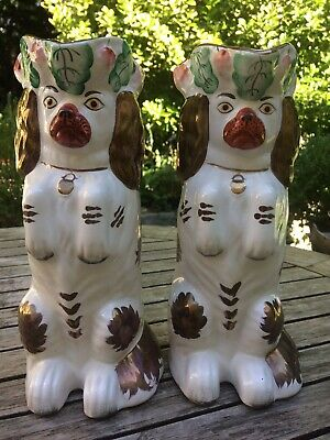 Staffordshire Dog Toby Wally Jug Spaniel Begging PAIR • 50£