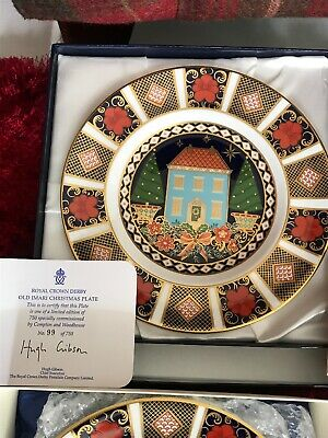 Extremely Rare Royal Crown Derby Blue House Christmas Plate • 75£