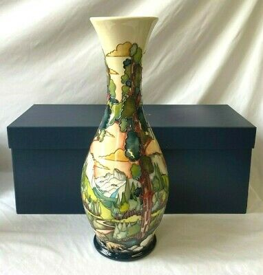 Moorcroft Large Vase Mountain Range Scene With Bears 19  In Original Box - (ROM) • 265£