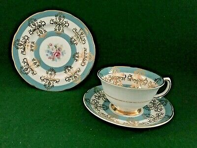 [b] Vintage Royal Grafton Trio Set ~ Harlequin Turquoise Cup / Saucer & Plate • 17.95£