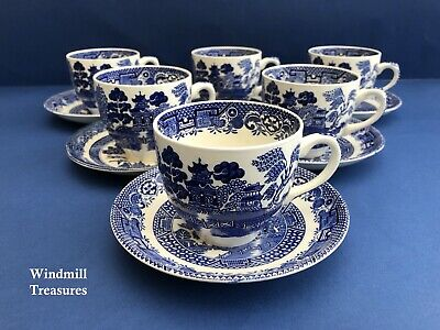 6 Vintage Mismatched Blue & White Willow Pattern Cups & Saucers • 14.99£