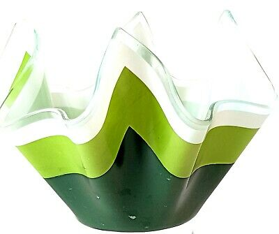 Chance Glass Handkerchief Vase Duet /Duo Lime/Green Rare 4 Inch Pics Are D • 25£