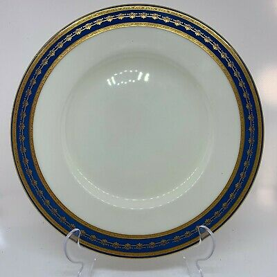 Exquisite Set Of Six (6) Blue & Gold Embossed MInton Dinner Plates K204 • 30£
